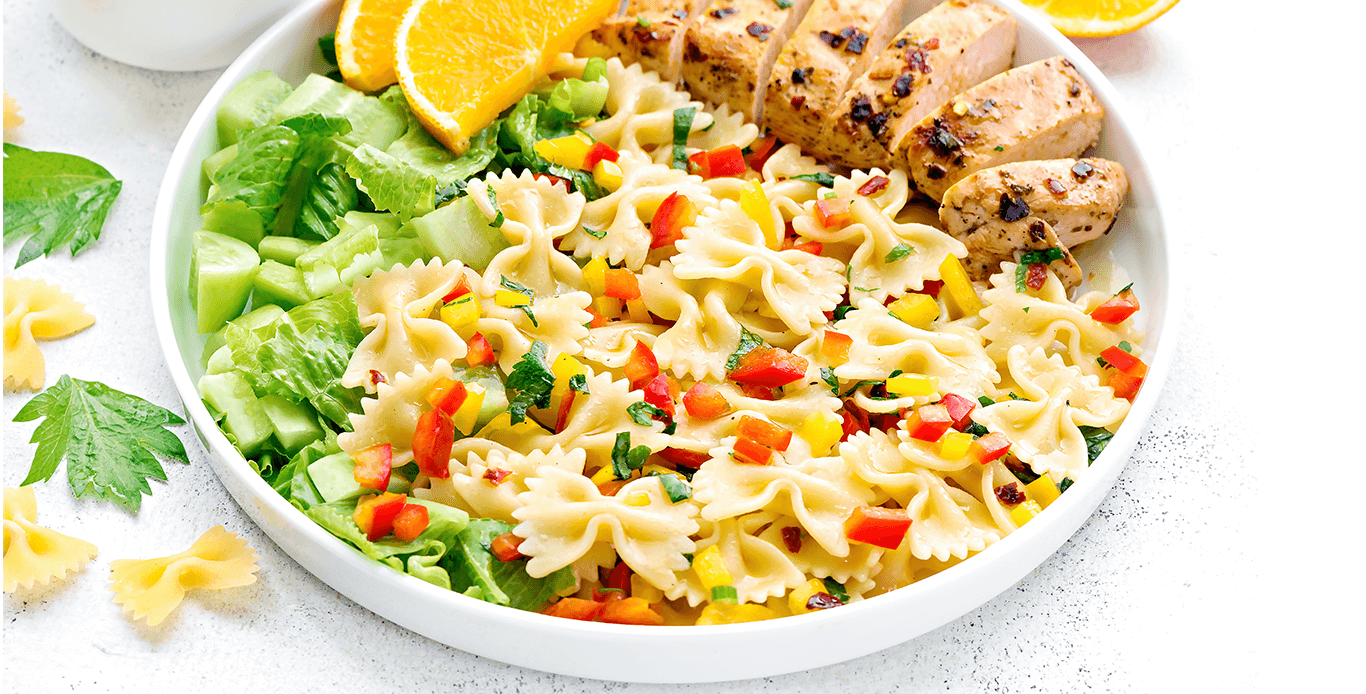 FARFALLE WITH ROASTED CHICKEN AND ORANGE CELERY DRESSING