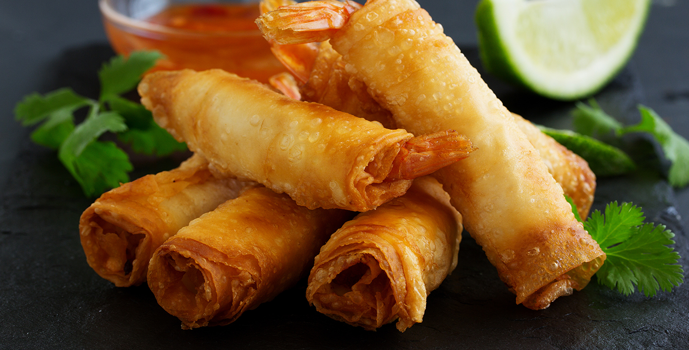 VEG SPRING ROLLS WITH EGGLESS MAYO