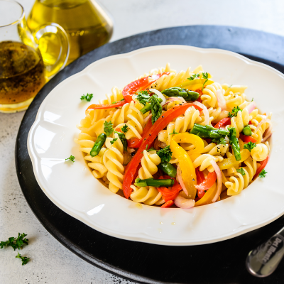 Del Monte LEMONY RED PEPPER AND ASPARAGUS PASTA SALAD Recipe