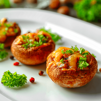 Del Monte MUSHROOMS STUFFED WITH CARROTS AND DEL MONTE MINT MAYO Recipe