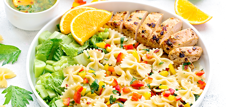 Del Monte FARFALLE WITH ROASTED CHICKEN AND ORANGE CELERY DRESSING Recipe