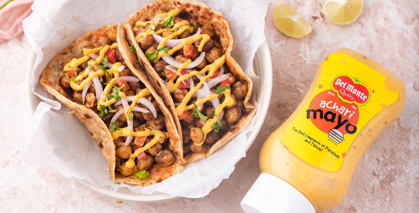 Chana achari tacos