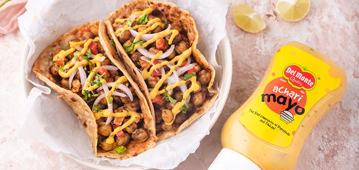 Del Monte Chana achari tacos Recipe