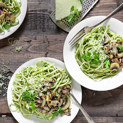 Del Monte SPAGHETTI with Garlic mushroom and Cilantro Pesto Recipe