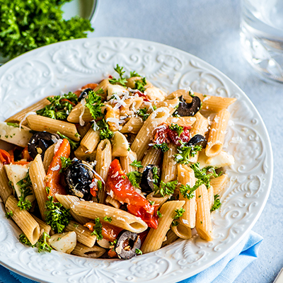 Del Monte ROASTED BELL PEPPER AND BLACK OLIVE PASTA SALAD Recipe