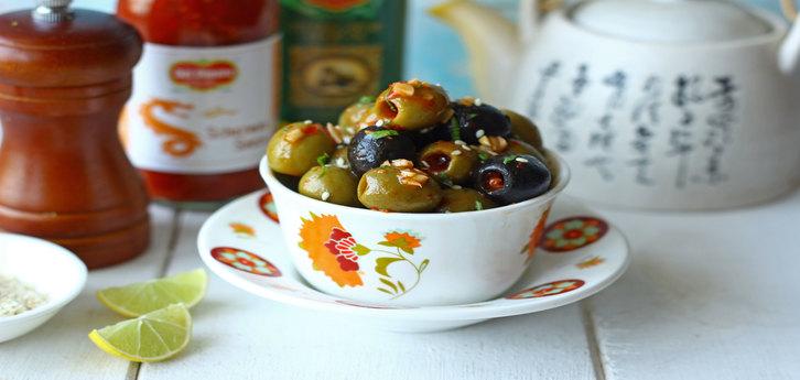 Del Monte Schezwan Olives Recipe