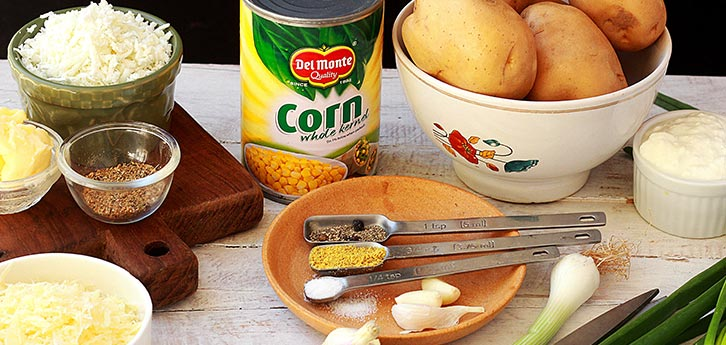 Del Monte Corn stuffed baked potatoes Recipe