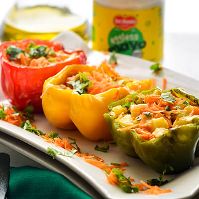 Del Monte STUFFED BELL PEPPERS WITH EGGLESS MAYO & VEGGIES Recipe