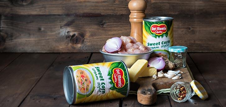 Del Monte Cream style corn soup with chicken bits Recipe