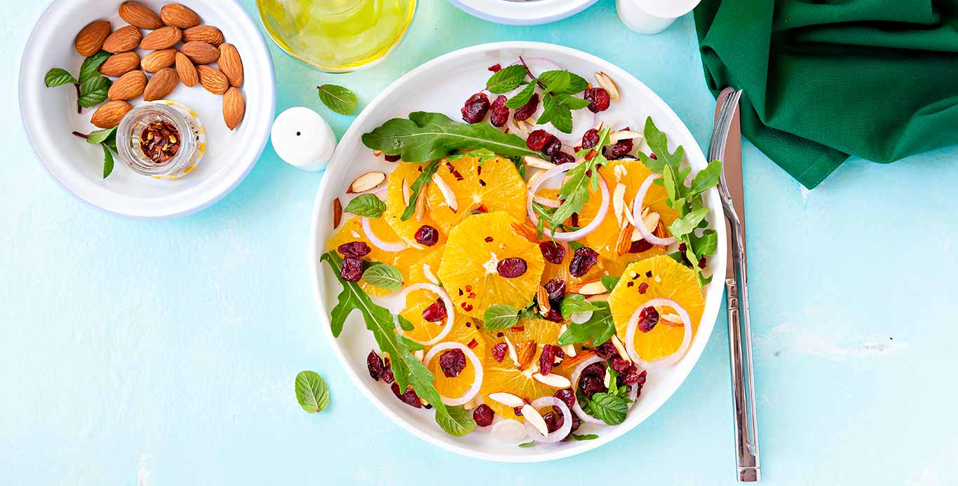 Orange Cranberry Salad With Rockets & Almonds